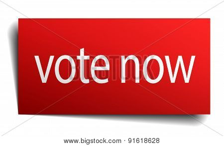 Vote Now Red Paper Sign On White Background