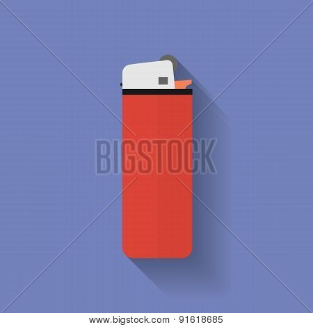 Icon Of Lighter. Flat Style