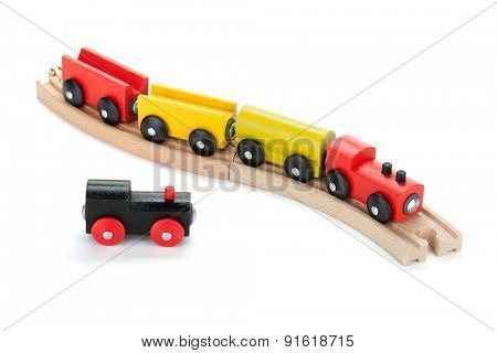 Wooden toy trains. Isolated on white background
