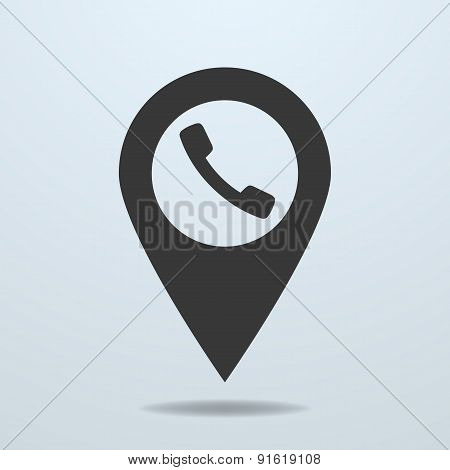 Map Pointer With A Phone Symbol
