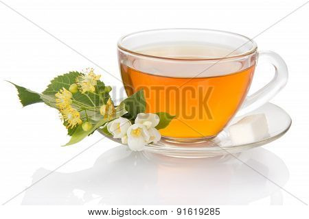 Cup of tea with  saucer the jasmine and linden flower