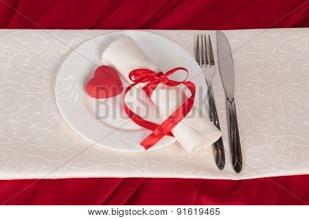 The red heart on plate
