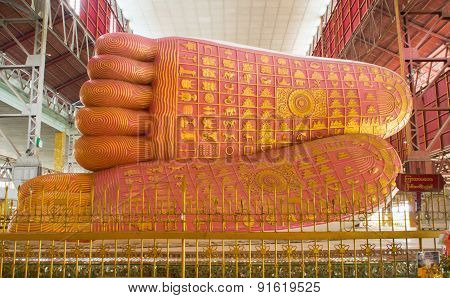 YANGON, MYANMAR - MARCH 25, 2015: The Beautiful Feet Of Chauk Htat Gyi Buddha Image.