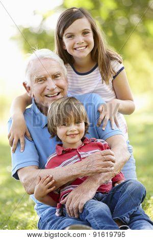Senior man and grandchildren in park