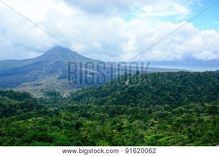 Batur Volcano View From Kintamani, Bali, Indonesia
