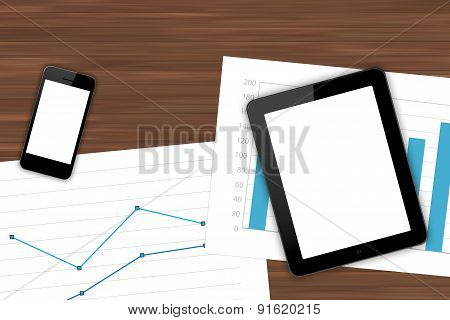 Workplace With Digital Devices And Financial Sheet