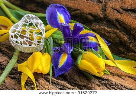 Blue Iris And Yellow Tulip Flower With Decorative Heart