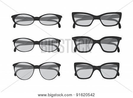 Different geek glasses and sunglasses vintage style isolated on white background