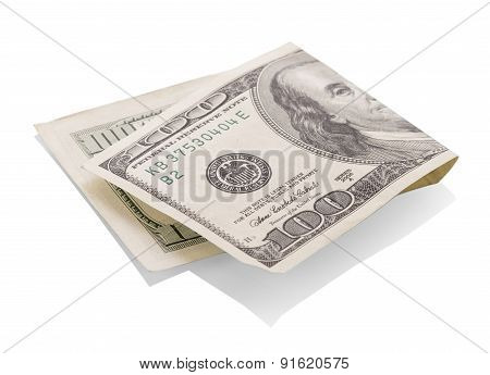 Dollar bills on white
