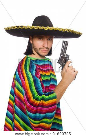 Handsome man in vivid poncho holding gun isolated on white