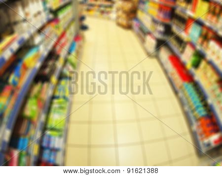 Long Shelves With Goods In A Store Household Goods