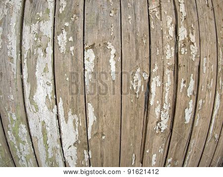 Old Wooden Fence With Peeling Off Paint