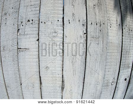Fragment Of Old Wooden Fence Painted Gray