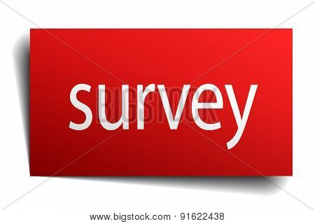 Survey Red Paper Sign Isolated On White