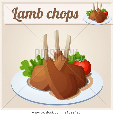 Lamb chops. Detailed Vector Icon