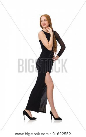 Young lady in elegant black dress isolated on white