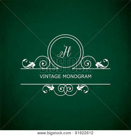 Monogram of the letter H, in retro floral style on green chalkboard background.