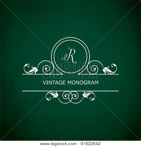 Monogram of the letter R, in retro floral style on green chalkboard background.