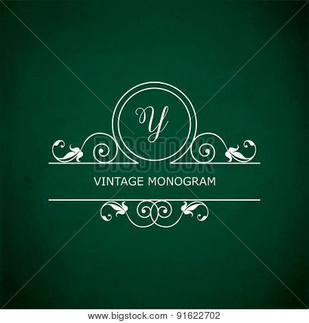 Monogram of the letter Y, in retro floral style on green chalkboard background.