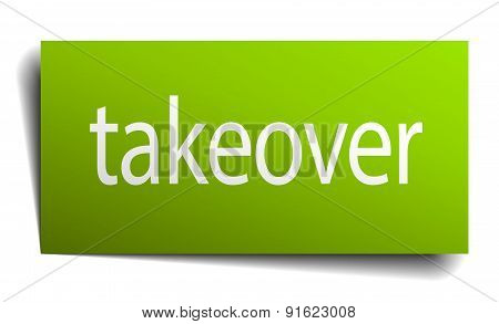 Takeover Square Paper Sign Isolated On White