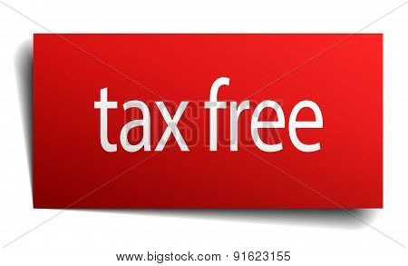 Tax Free Red Paper Sign On White Background