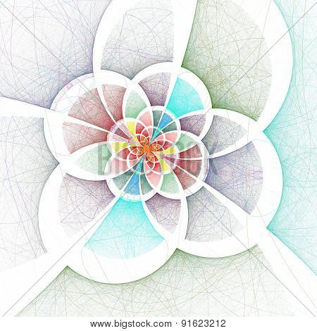 Dark Colorful Fractal Flower, Digital Artwork