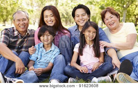 Portrait multi-generation Asian family in park