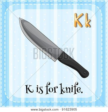 Flashcard letter K is for knife