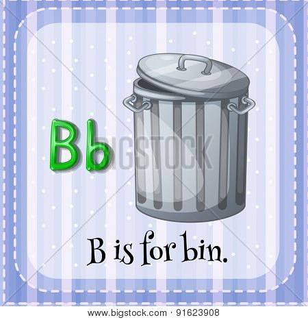 Flashcard letter B is for bin