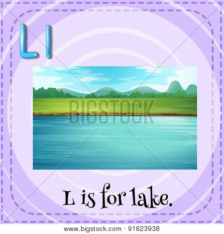Flashcard letter L is for lake