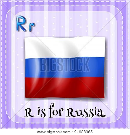 Flashcard letter R is for Russia