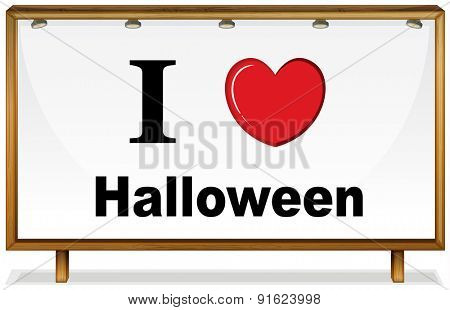 I love halloween in wooden frame