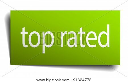Top Rated Square Paper Sign Isolated On White
