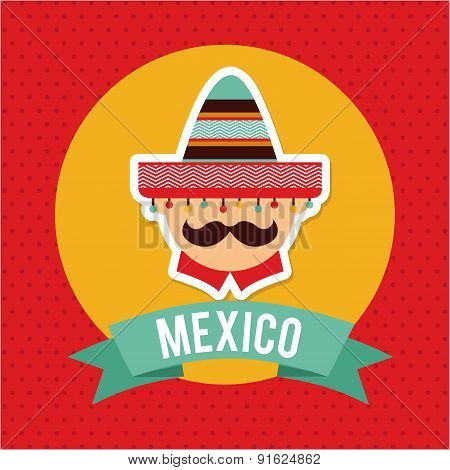 Mexico design over red background vector illustration