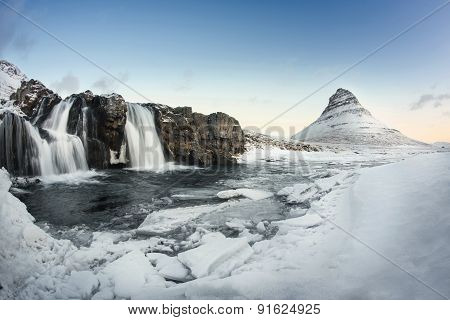 Beauty Kirkjufell Mountain With Water Falls, Iceland.