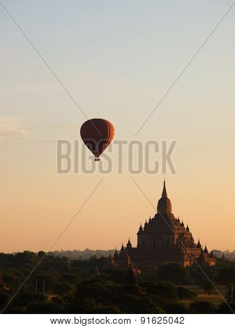 Hot Air Balloon Was Over Plain Of Bagan