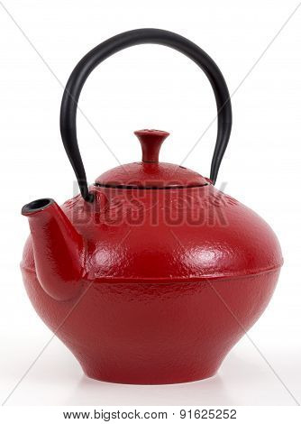 red iron teapot