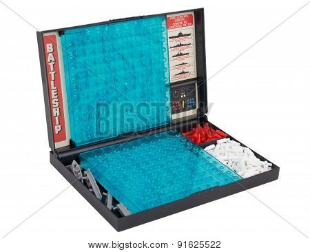 Battleship sea battle board game over white
