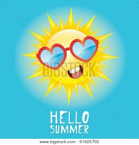 Hello Summer. vector summer smiling sun