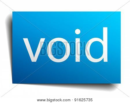 Void Blue Paper Sign Isolated On White