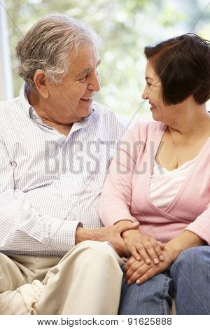 Senior Hispanic couple at home