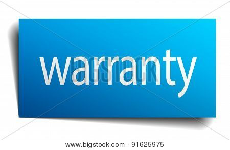 Warranty Blue Paper Sign Isolated On White