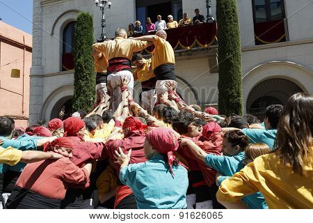 Castell Or Human Tower, Typical Tradition In Catalonia