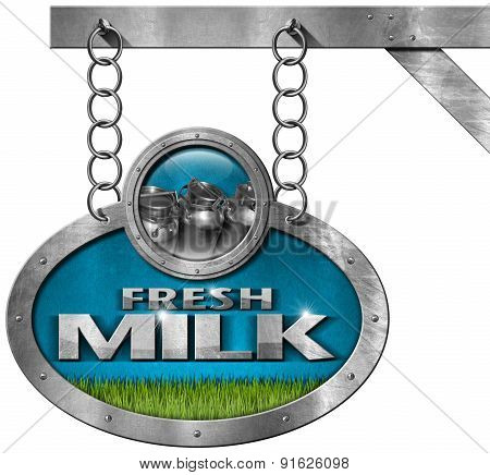 Fresh Milk -  Metallic Sign With Chain