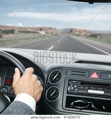 Man Is Driving With Hands On The Steering Wheel With Clipping Path