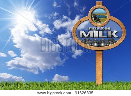 Fresh Milk - Wooden Sign With Pole
