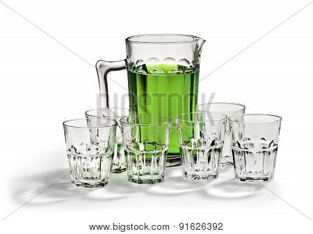 Pitcher And Glasses With Lemonade Isolated On A White
