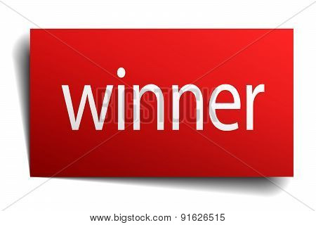 Winner Red Square Isolated Paper Sign On White