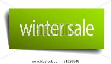 Winter Sale Square Paper Sign Isolated On White