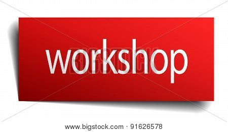 Workshop Red Square Isolated Paper Sign On White